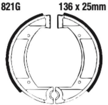 EBC 821G Grooved Brake Shoe Set (8600725) for Garelli/Gilera/Maico/NVT AMX - Image 2