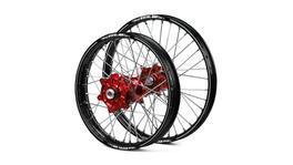 Honda Haan / A60 Enduro Cush Drive Black Rims / Red Hubs Wheel Set