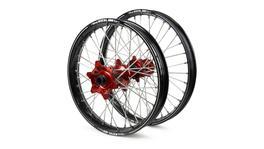 Honda Haan / A60 SNR MX Black Rims / Red Hubs Wheel Set