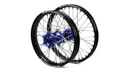"Yamaha SM Pro / Platinum SNR MX Black Rim / Blue Hub / Blue Nipples Wheel Set YZ 125-250  2008-2017 (21x1.60 / 19x2.15"")"
