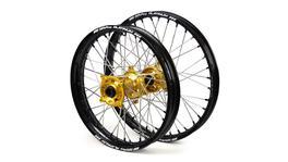 "Suzuki SM Pro / Platinum SNR MX Black Rim / Gold Hub / Black Nipples Wheel Set DRZ 400 E 2000-2017 (21x1.60 / 18x2.15"")"