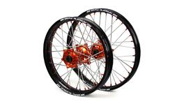 "KTM SM Pro / Platinum SNR MX Black Rim / Orange Hub / Orange Nipples Wheel Set SX-SXF 125-150-250-350 2003-2017 (21x1.60 / 19x2.15"")"