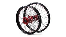 "Suzuki SM Pro / Platinum SNR MX Black Rim / Red Hubs / Red Nipples Wheel Set RMZ 250 2007-2017 (21x1.60 / 19x2.15"")"