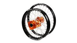 "KTM SM Pro / Platinum Junior MX Black Rim / Orange Hub Wheel Set 85 SX (BIG WHEEL) 2012-2017 (19x1.40 / 16x1.85"")"